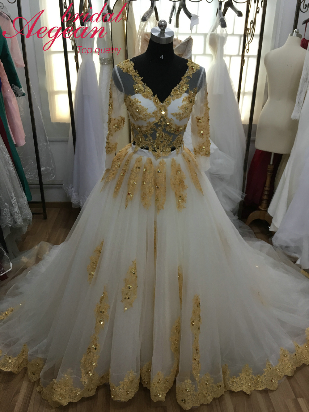 HQ146 Real Sample Two Pieces Wedding Dress Gold and Ivory Bridal ...