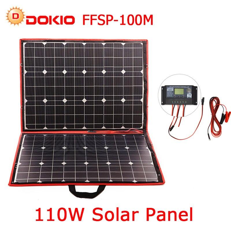 Dokio 100 w 110 w (55 W x 2 pcs) flessibile Foldble Mono Pannello Solare Per I Viaggi e Boat & Di Alta Qualità RV Portatile Pannello Solare Cina