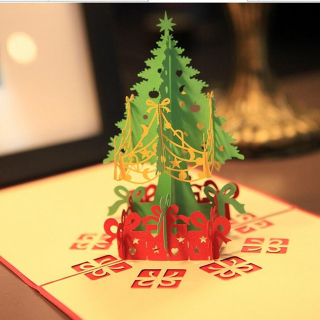 Aliexpress buy 5pcslot 3d three dimensional greeting cards 5pcslot 3d three dimensional greeting cards paper christmas tree model festival gift free m4hsunfo