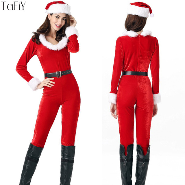 90fe9a4eea9 TaFiY Brand New Women s Christmas Santa Costume Claus Cosplay Xmas Party  Red Jumpsuit+Hat+Belt Christmas Sexy Snowman uniform