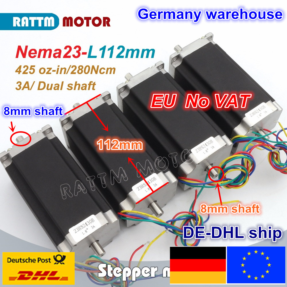DE Ship free VAT 4 pcs NEMA23 425Oz-in 2.8N.m 112mm Length Dual shaft stepper motor stepping motor/3A for CNC Router Engraving nema23 geared stepping motor ratio 50 1 planetary gear stepper motor l76mm 3a 1 8nm 4leads for cnc router