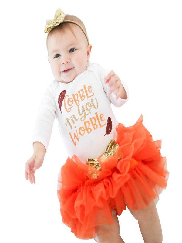 Newborn Baby Girls Halloween Long Sleeve Letters Rompers+tutu Skirt Orange Outfits Set Clothes Mother & Kids