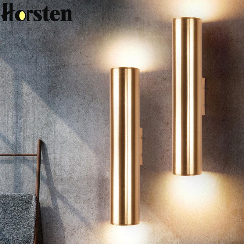 Us 49 6 36 Off Nordic Art Gold Dining Room Wall Lamp Creative Loft Retro Led Light Bar Hotel Bedroom Corridor Free Shipping In Indoor