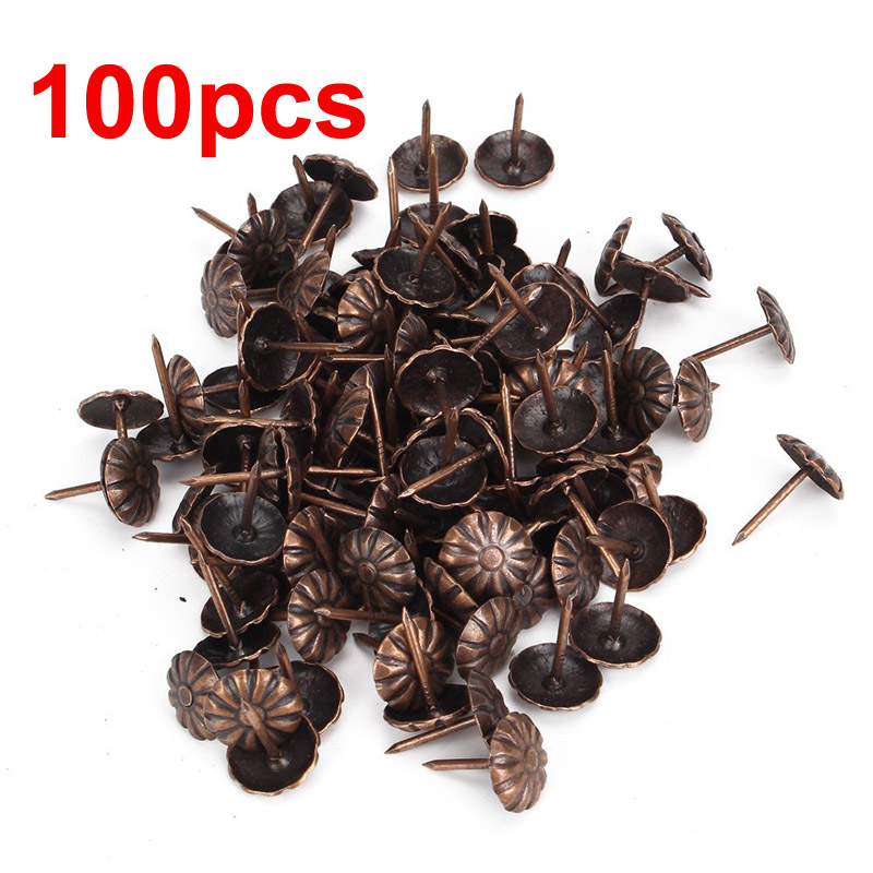 100 Pcs/Set Furniture Stud Antique Brass Upholstery Nails Furniture Tacks Pushpins Bags Sofa Chair Hardware Decoration Supplies