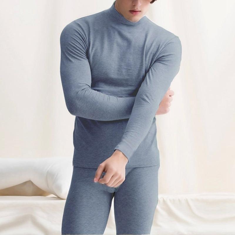 72b008ba39f Plus Size 7XL Winter Men Thickening Thermal Long Johns Set White Black Half  Turtleneck Warm T Shirt+High Waist Pants Fleece Sets-in Long Johns from ...