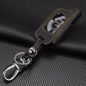Image 3 - Jingyuqin 4 Knoppen Leather Key Cover Case X5 Voor Russische Versie Voertuig Security Twee Weg Auto Alarm Systeem Tomahawk X5 sleutelhanger