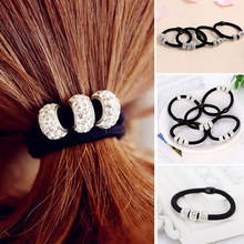 New Three Full Crystal Hair Scrunchies Women Hair Accessories Black Elastic Hair Rubber Bands Girls Ponytail Holder Hair Ropes(China)