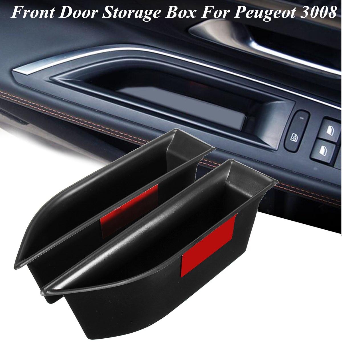 2pcs Front Door Storage Box For Peugeot 2016 2017 3008 Gt Glove Box Bin Arm Rest Door Handle Interior Moulding Stowing Tidying Mild And Mellow
