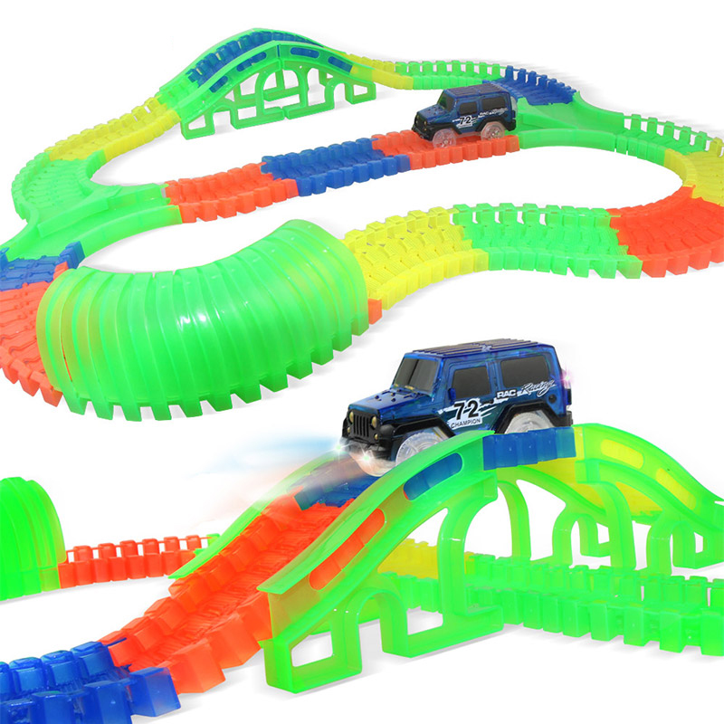 DIY Magical Glowing Racing Track Set With LED Car Flexible  Racing Tracks Railway Educational Car Toys For Boys Children Gift >