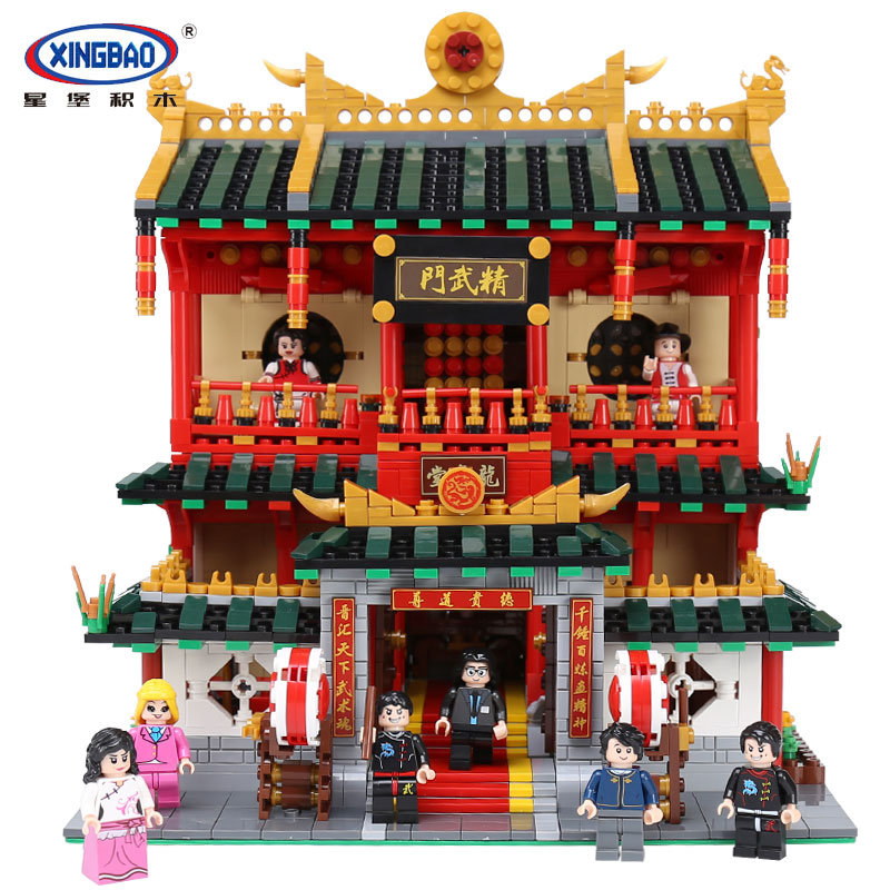 XingBao 01004 Genuine Creative Building Series The Chinese Martial Arts Set Children Building Blocks Bricks legoingly Toys Model xingbao 01001 creative chinese style the chinese silk and satin store 2787pcs set educational building blocks bricks toys model