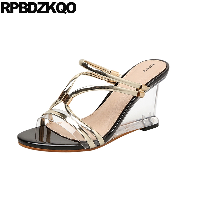 Pvc Women Transparent Slides Glass Roman Wedding Pumps Shoes Gold High Heels Perspex Slipper Sandals Slingback Gladiator Wedge mobeini women pumps gladiator sandals pvc clear block high heel transparent boots high top pumps perspex lucite summer shoes