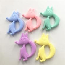 Chenkai 10PCS BPA Free Silicone Fox Teether Pendant DIY Baby Animal Pacifier Dummy Nursing Sensory Toy Accessories