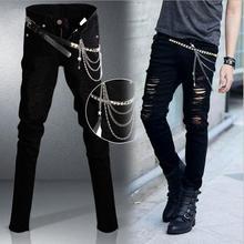 Оптовая продажа 2016 мода мужской черный мальчик брюки-карго заклепки тонкий выдалбливают байкер черные брюки карандаш мальчиков джинсы мужчины джинсовые брюки