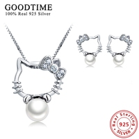 Silver 925 Jewelry Girls Natural Pearl Jewelry Sets For Women Fashion Kitty Cute 925 Sterling Silver