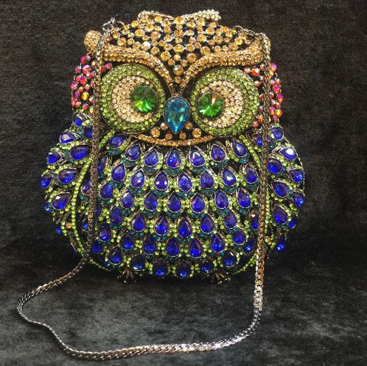 colorful Diamond Rhinestones Women Crystal Evening Purse Metal owl Hardcase Wedding Party Prom Handbag Clutch Lady Shoulder Bag