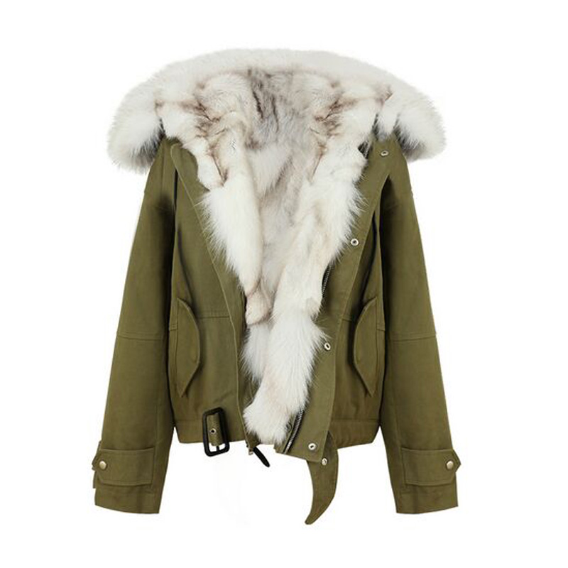 Naturel fourrure de renard doublure veste 2018 nouveau grand réel fourrure hiver veste femmes à capuche femme veste manteau épaissir chaud armée vert Parka