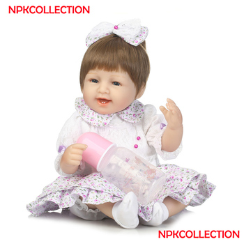 40cm Soft Body Silicone Reborn Baby Doll Toy For Girls Vinyl Newborn Girl Babies Dolls Kids Child Gift bebe Brinquedos
