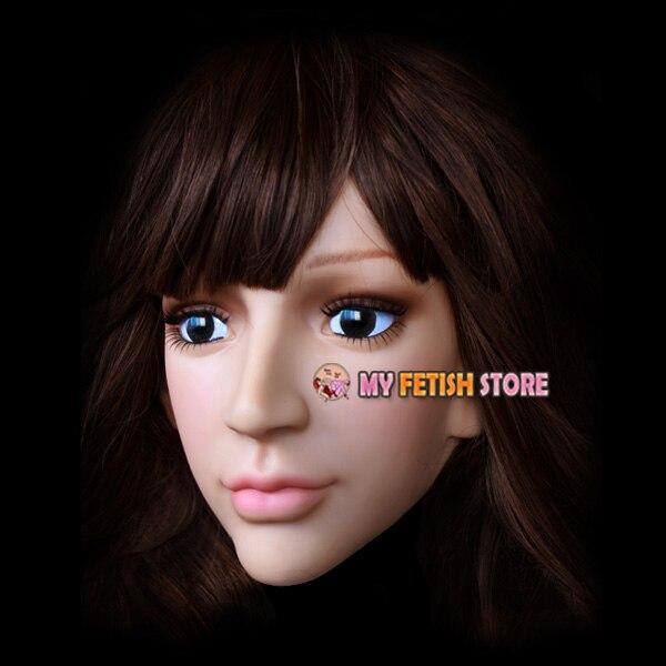 (SH 15) Crossdress mâle silicone réaliste visage humain demi tête masque crossdresser poupée masque - 3
