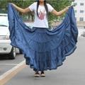 Maxi Skirts Womens 2017 Fashion Candy Color Elastic Waist Plus size Cotton Falda Casual Bohemia Ruffles Big Pendulum Long Skirt