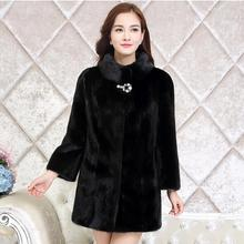 2017 New Fashion Winter Coat High-end Elegance Temperament Large Size M-6XL Fur Coat Medium-long Warm Black Fur Overcoat G2107