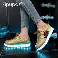 7ipupas Fashion Led Lighted Shoes For Boys Girls China Style Rose Er Sneakers Kids Luminous Casual
