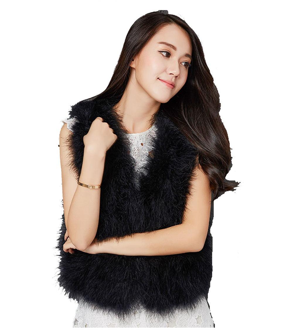 Femme vraie autruche fourrure côte/gilet mode noir