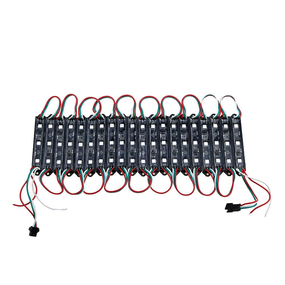 20PCS LED Module WS2811 DMX 3LED DC12V LED Garden Light SMD5050 RGB Waterproof LED Pixel Digital Module String Light Black/white