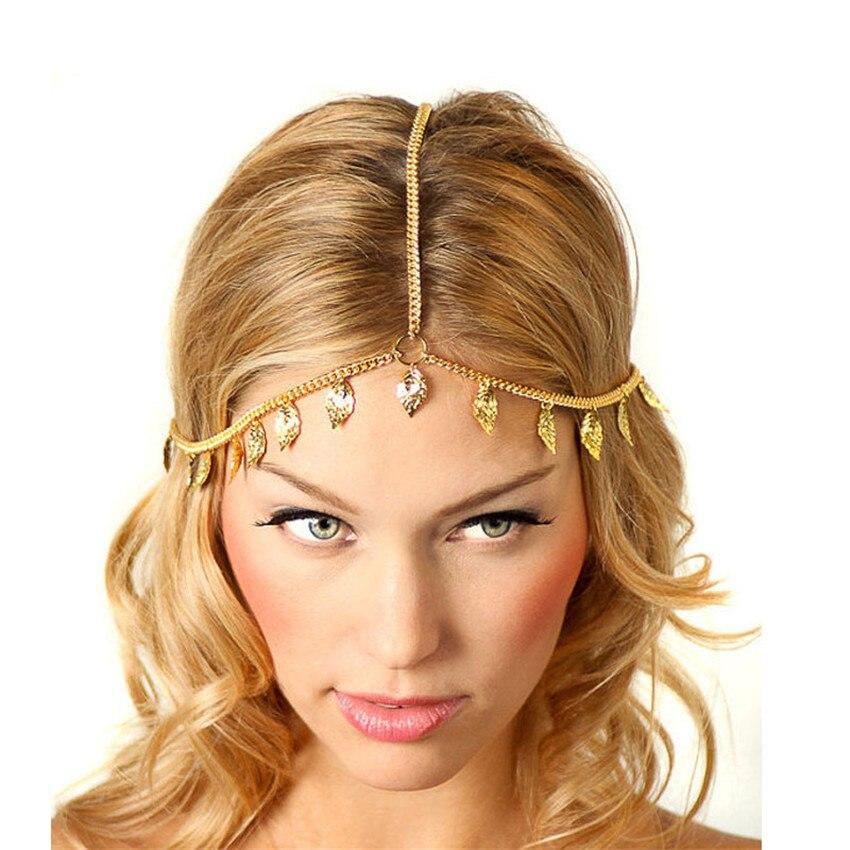2018 popular design Women Leaf Tassels Head Chain Headband Headpiece Hairband Jewelry Gift beautiful hair headwear