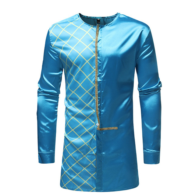 5b69eaf1410 US $14.98 49% OFF|Men's Hipster African Clothes LongIine Plaid Shirt 2018  Fashion Traditional Tribal Dashiki Dress Shirts Men African Clothing-in ...