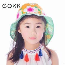 COKK Summer Hats For Girls Children Bucket Hat Double Side Flower Sunscreen Sun Hat Visor Fisherman Hat Beach Cap Travel Seaside