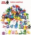72 pcs Japonês figuras Pokeball mon puxão pikachu charizard estatueta figuras boneca lote para fonte do partido crianças decoração