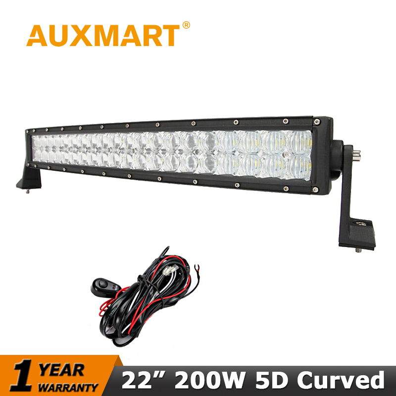 Auxmart CREE Chips 5D 22 200W Curved LED Car Light Bar Offroad Driving Combo Beam for Pickup Truck SUV ATV 4X4 RZR Work Trailer cree red round 7inch 90w led bar 3d lens spot beam offroad led work light bar trailer car truck 4x4 atv suv auto driving lamp12v