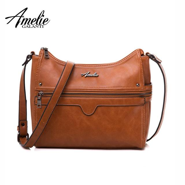 AMELIE GALANTI Leather Shoulder Crossbody Bags for Women 2018 with Long Strap Female Brown Messenger Bags Large Compartment