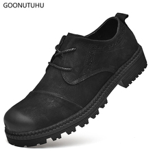 2018 new fashion mens shoes causal genuine leather cow male classic black shoe man youth waterproof for men hot sale
