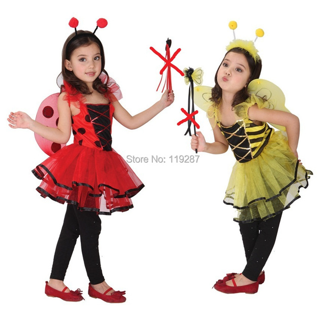 Mariquita Linda de hadas disfraces de halloween para niños vestidos de las muchachas al por menor, niña trajes de danza de la Libélula, niñas traje de princesa