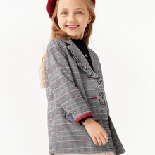 Balabala Children clothing girls plaid small trench coat autumn 2019 new Korean