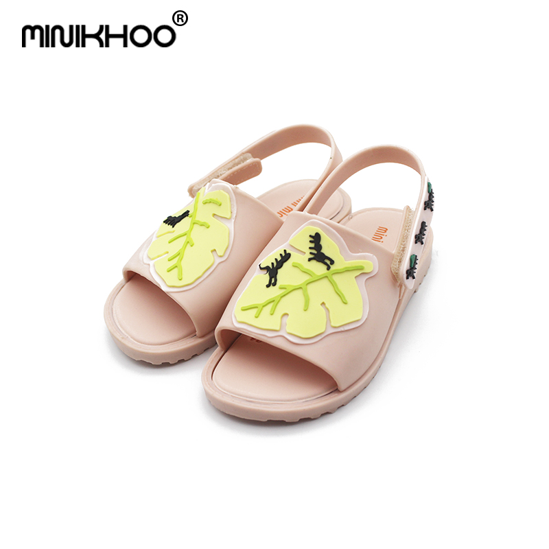 Mini Melissa Mini Leaves Sandals Girl Jelly Sandals 2017 Summer New Boy Sandals Girl Beach Shoes Children Sandals Shoes