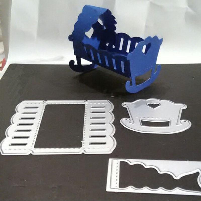 Exquisite Bed Baby Cradle For Wedding Metal Cutting Dies Scrapbooking Craft Die Cuts Card Making Diy Emboss 7.4X7/4.9X5cm