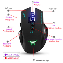 COMBATERWING – Rechargeable 2.4G Wireless Wired Gaming Mouse Optical Mice Adjustable DPI 8 Button for PC Mac Laptop Game LOL