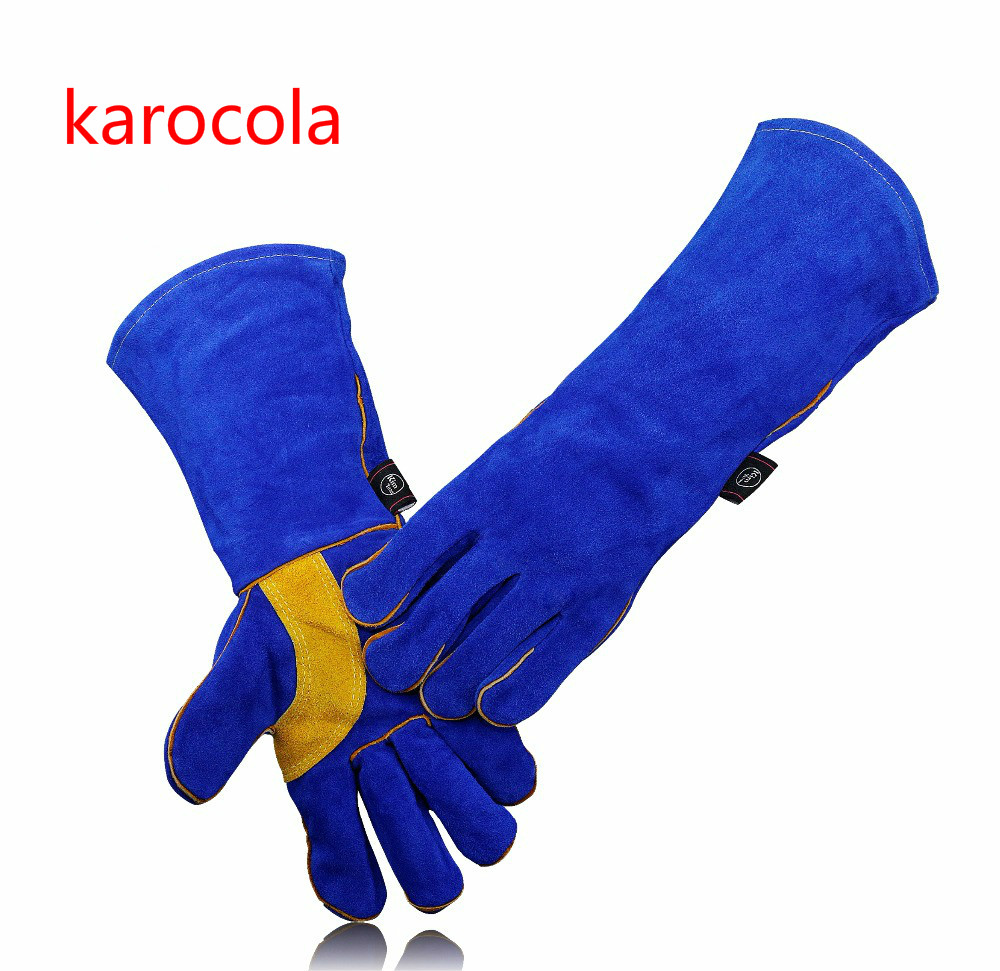 karocola Leather Welding Gloves-Heat/Fire Resistant for Welder/Oven/Fireplace/Animal Handling/BBQ -Blue 14&16in safety gloves hotsale heat resistant oven gloves bbq gloves with no slip silicone grips oven mitts fire proof gloves