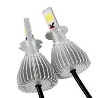 2 шт. преобразования света H3 головного света COB C6 серии Высокое качество автомобиля светодиодные фары все в одном 4400lm 12 В 6000 К