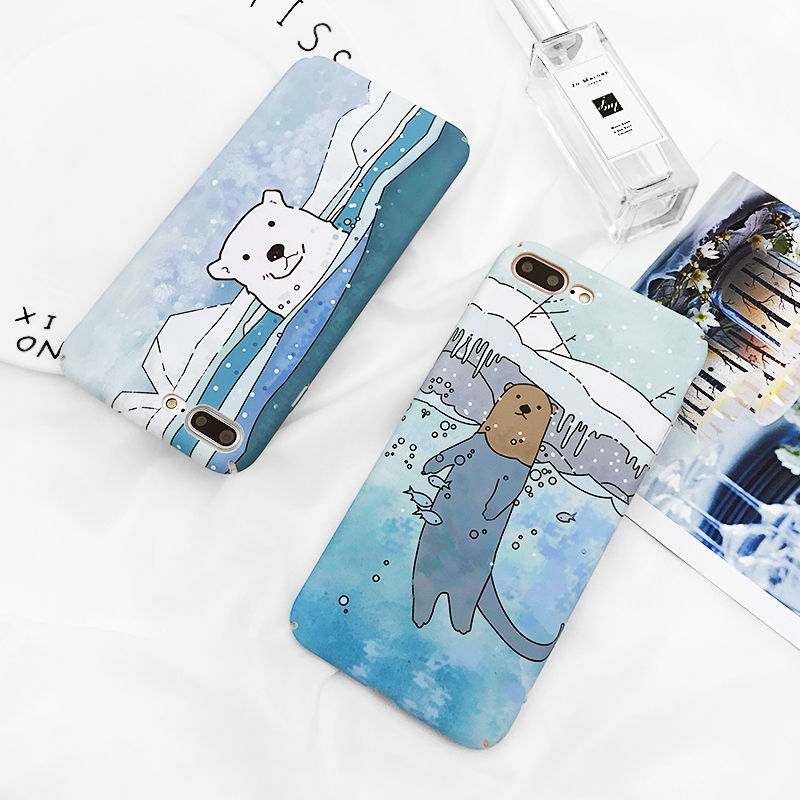 LOVECOM Cute Polar bear Phone Case For iPhone 6 6S Plus Matte Hard PC Full Protect Back Cover Coque