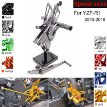 Motorcycle Rear Set Accessories For Yamaha YZF-R1 2015-2018 CNC Adjustable Rearset Foot Pegs YZF R1 Foot Rests Footpegs kemimoto rear sets cnc adjustable rearsets foot pegs foot rests for yamaha yzf r1 2004 2005 2006 100% brand new