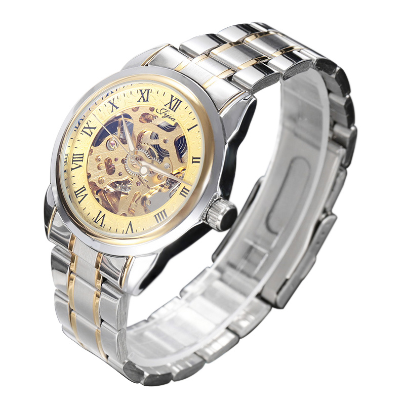 Jijia G8132 Business Male Hollow-out Dial Automatic Mechanical Watch with Transparent Back Cover G8132 silver+golden hollow out dial male automatic mechanical movt watch leather band