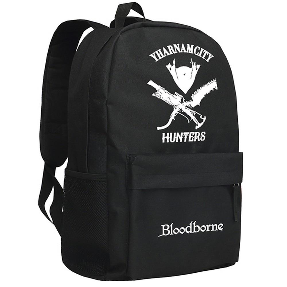 цена на MeanCat Cute Play Station Game PS4 Bloodborne Hunters Yharnamcity Shoulder Backpack Mochila with Luminous Bloodborne Bag