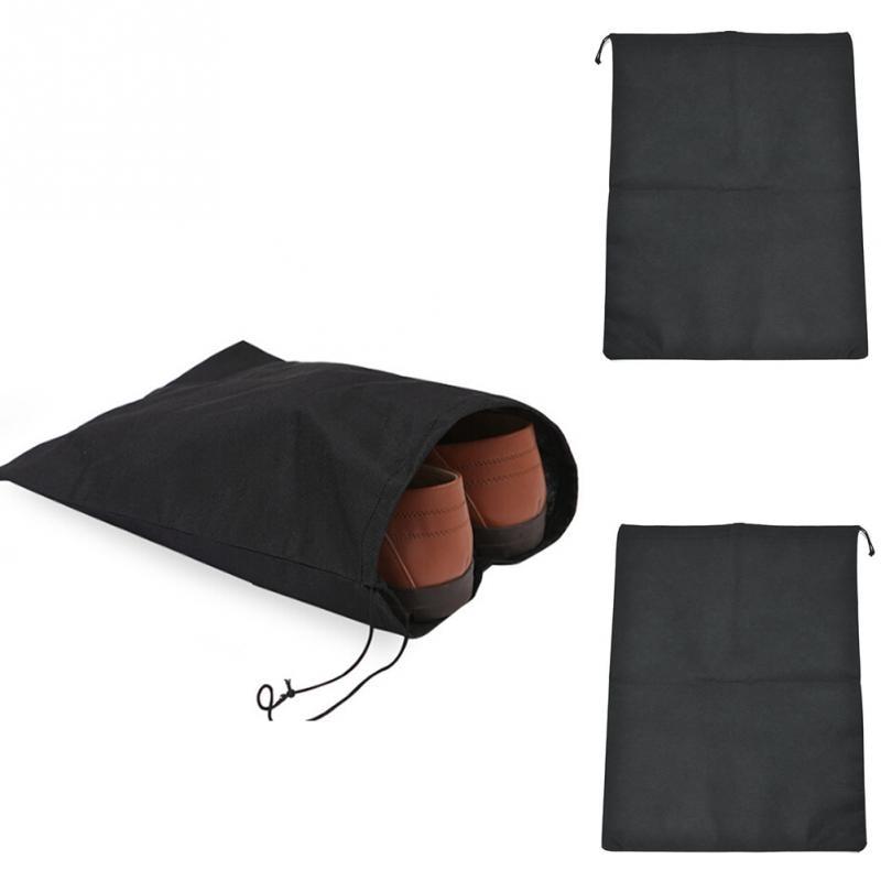 2Pcs Environmental Shoes Travel non-woven fabric Black Pouch Storage Portable Tote Drawstring Dust proof Bag 28.5 * 36cm