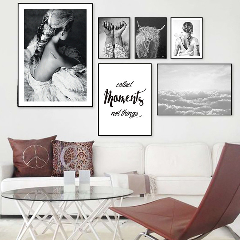 Nordic Canvas Painting Black White