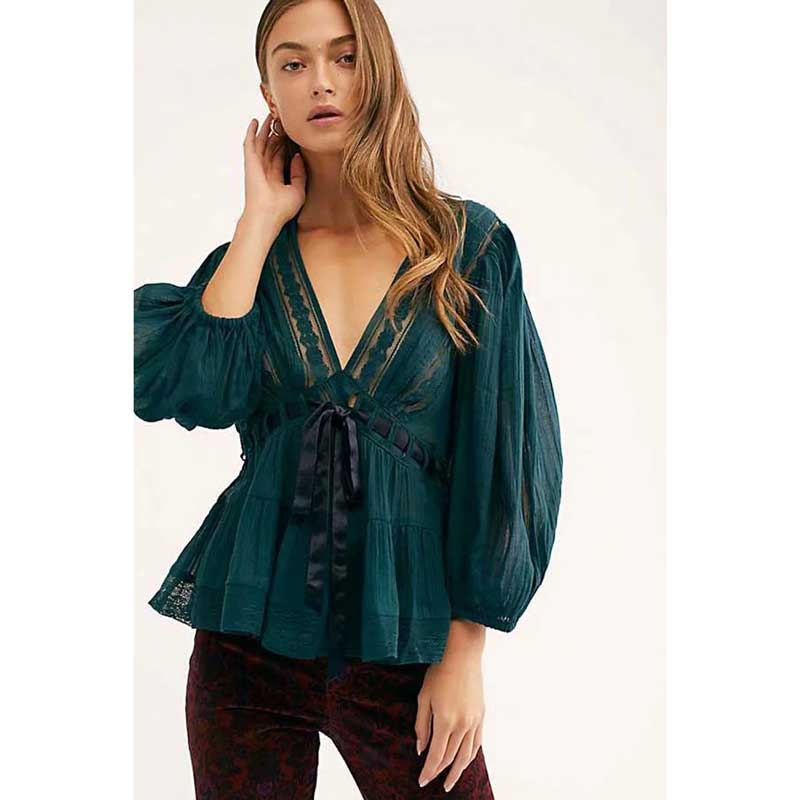 BOHO INSPIRED Romance Tunic Tops Spring Summer 2019 cotton semi-sheer lace panels Plunging V-neckline blouse shirt women blusas