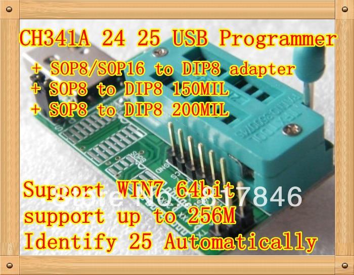 משלוח חינם Bios Board MX25L6405 W25Q64 USB מתכנת LCD מבער CH341A Progammer עבור 24 25 סדרה + 3 מתאם IC Socket SOP8