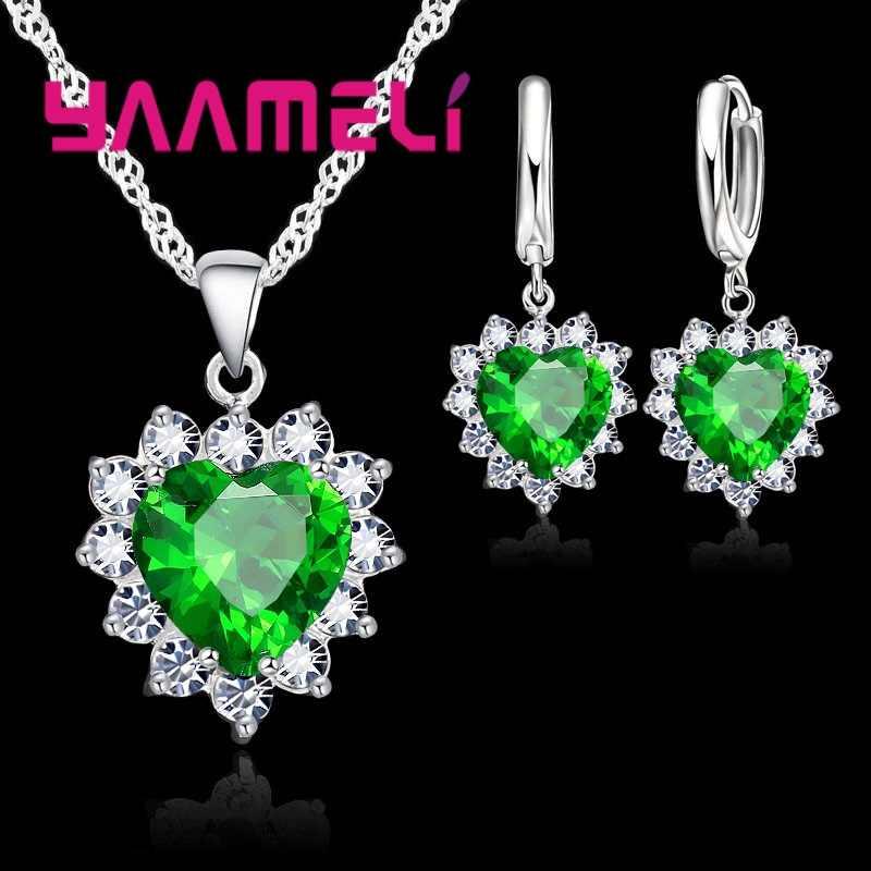 Neue Anzug Herz Form Mode Frauen Hochzeit Silber Schmuck Set Kristall Ohrring Halskette Anhänger Strass Heißer Verkauf